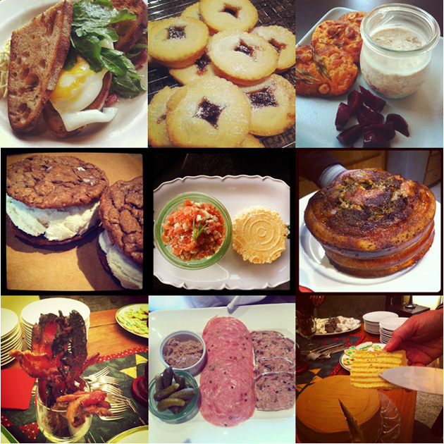 lizelle green food images includes egg, ice cream sandwiches, cured meats, mincemeat pies, porchetta, bacon candy