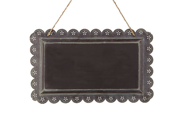 SCALLOPED HANGING CHALKBOARD SIGN